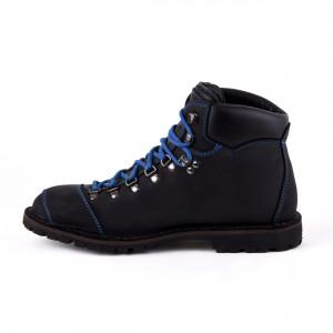 Biker Boot Adventure Denver Black, zwarte dames boot, blauw stiksel, maat 36