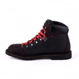 Biker Boot Adventure Denver Black, zwarte dames boot, rood stiksel, maat 36